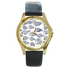 Love Fish Seaworld Swim Blue Sea Water Cartoons Round Gold Metal Watch
