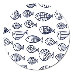 Love Fish Seaworld Swim Blue Sea Water Cartoons Magnet 5  (round)
