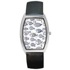 Love Fish Seaworld Swim Blue Sea Water Cartoons Barrel Style Metal Watch