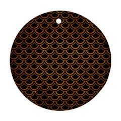 Scales2 Black Marble & Yellow Grunge (r) Ornament (round)