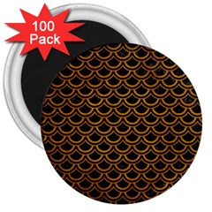 Scales2 Black Marble & Yellow Grunge (r) 3  Magnets (100 Pack)