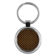 Scales2 Black Marble & Yellow Grunge (r) Key Chains (round)