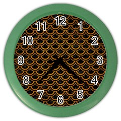 Scales2 Black Marble & Yellow Grunge (r) Color Wall Clocks