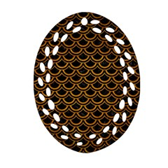 Scales2 Black Marble & Yellow Grunge (r) Oval Filigree Ornament (two Sides)