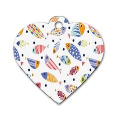 Love Fish Seaworld Swim Blue White Sea Water Cartoons Rainbow Dog Tag Heart (two Sides)