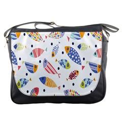Love Fish Seaworld Swim Blue White Sea Water Cartoons Rainbow Messenger Bags