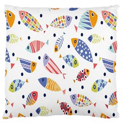 Love Fish Seaworld Swim Blue White Sea Water Cartoons Rainbow Large Cushion Case (two Sides)