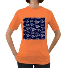 Love Fish Seaworld Swim Blue White Sea Water Cartoons Women s Dark T Shirt