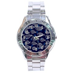 Love Fish Seaworld Swim Blue White Sea Water Cartoons Stainless Steel Analogue Watch