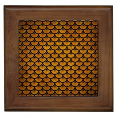 Scales3 Black Marble & Yellow Grunge Framed Tiles