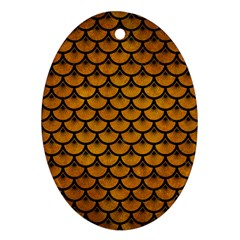 Scales3 Black Marble & Yellow Grunge Ornament (oval)
