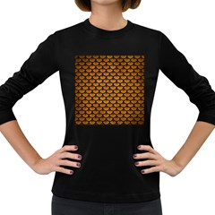 Scales3 Black Marble & Yellow Grunge Women s Long Sleeve Dark T Shirts