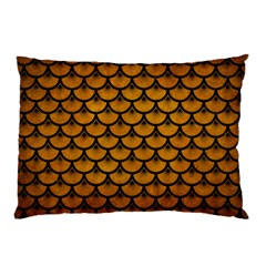 Scales3 Black Marble & Yellow Grunge Pillow Case (two Sides)