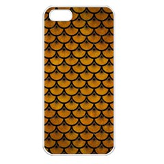 Scales3 Black Marble & Yellow Grunge Apple Iphone 5 Seamless Case (white)