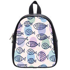 Love Fish Seaworld Swim Blue White Sea Water Cartoons Rainbow Polka Dots School Bag (small)