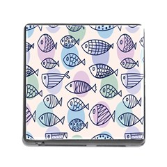 Love Fish Seaworld Swim Blue White Sea Water Cartoons Rainbow Polka Dots Memory Card Reader (square)