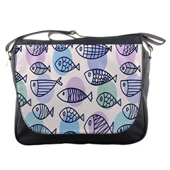 Love Fish Seaworld Swim Blue White Sea Water Cartoons Rainbow Polka Dots Messenger Bags