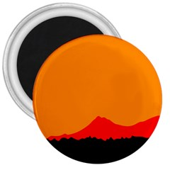 Mountains Natural Orange Red Black 3  Magnets