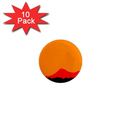 Mountains Natural Orange Red Black 1  Mini Magnet (10 Pack)