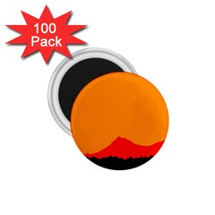 Mountains Natural Orange Red Black 1 75  Magnets (100 Pack)