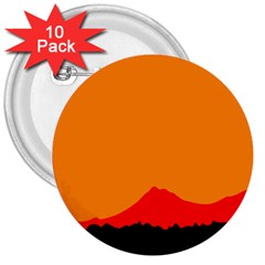 Mountains Natural Orange Red Black 3  Buttons (10 Pack)