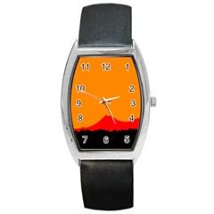 Mountains Natural Orange Red Black Barrel Style Metal Watch