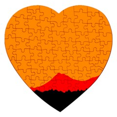 Mountains Natural Orange Red Black Jigsaw Puzzle (heart)