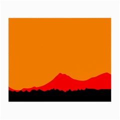 Mountains Natural Orange Red Black Small Glasses Cloth