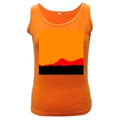 Mountains Natural Orange Red Black Women s Dark Tank Top
