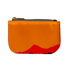Mountains Natural Orange Red Black Mini Coin Purses