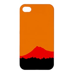 Mountains Natural Orange Red Black Apple Iphone 4/4s Premium Hardshell Case