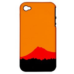 Mountains Natural Orange Red Black Apple Iphone 4/4s Hardshell Case (pc+silicone)