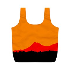 Mountains Natural Orange Red Black Full Print Recycle Bags (m)