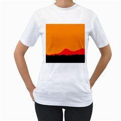 Mountains Natural Orange Red Black Women s T Shirt (white)