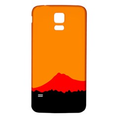 Mountains Natural Orange Red Black Samsung Galaxy S5 Back Case (white)