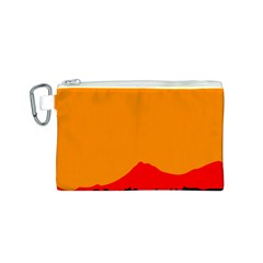 Mountains Natural Orange Red Black Canvas Cosmetic Bag (s)