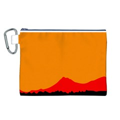 Mountains Natural Orange Red Black Canvas Cosmetic Bag (l)