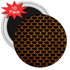 Scales3 Black Marble & Yellow Grunge (r) 3  Magnets (10 Pack)