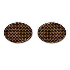 Scales3 Black Marble & Yellow Grunge (r) Cufflinks (oval)