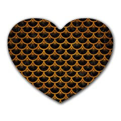 Scales3 Black Marble & Yellow Grunge (r) Heart Mousepads