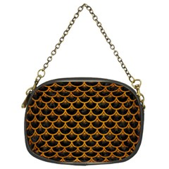 Scales3 Black Marble & Yellow Grunge (r) Chain Purses (two Sides)
