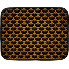 Scales3 Black Marble & Yellow Grunge (r) Double Sided Fleece Blanket (mini)