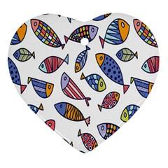 Love Fish Seaworld Swim Rainbow Cartoons Ornament (heart)