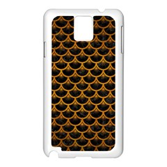 Scales3 Black Marble & Yellow Grunge (r) Samsung Galaxy Note 3 N9005 Case (white)