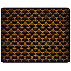 Scales3 Black Marble & Yellow Grunge (r) Double Sided Fleece Blanket (medium)