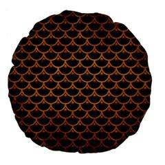 Scales3 Black Marble & Yellow Grunge (r) Large 18  Premium Flano Round Cushions