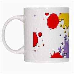 Paint Splash Rainbow Star White Mugs