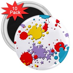 Paint Splash Rainbow Star 3  Magnets (10 Pack)