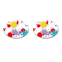 Paint Splash Rainbow Star Cufflinks (oval)