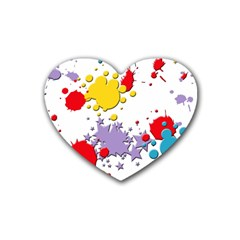 Paint Splash Rainbow Star Rubber Coaster (heart)